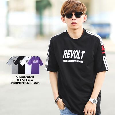 T恤 REVOLT線條斜袖寬版短T【NB0199J】