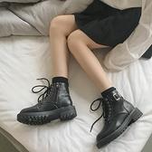 短靴 新款秋冬季英倫風網紅瘦瘦馬丁靴女加絨刷毛百搭ins潮鞋短靴子