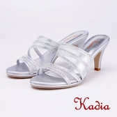 kadia.典雅水鑽網紗高跟拖鞋(9113-85銀色)
