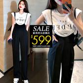 克妹Ke-Mei【ZT60815】NEW韓妞年輕感字母上衣+細肩帶吊帶連身褲套裝