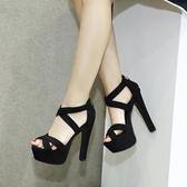 高跟鞋 2017歐美款T臺高跟女鞋14cm超高粗跟夏季涼鞋 模特走秀舞臺演出鞋