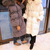 梨卡 -【韓國製】正韓國空運超美超大毛領真毛中長版雪地羽絨保暖抽繩外套風衣長大衣AR063