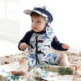 兒童泳衣兒童泳衣男童嬰兒幼兒小孩1連體2海豚3歲4長袖防曬泳裝寶寶游泳暖心生活館