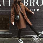 毛呢外套 秋冬新款女中長款赫本風韓版氣質顯瘦外套毛呢大衣