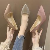 高跟鞋2019新款夏季法式少女性感細跟網紅婚鞋銀色仙女風尖頭單鞋  (pink Q 時尚女裝)