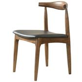原木日式和風梣木實木圓弧靠背PU坐面餐椅-胡桃色-兩入組