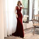 婚紗禮服 超仙氣新娘酒紅色結婚敬酒服2019新款名媛主持人宴會年會晚禮服女