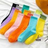 彩色襪子女中筒襪純棉素色長襪秋冬糖果色堆堆襪【愛物及屋】