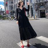 長袖小禮服秋冬修身顯瘦中長款小黑裙8200GD3F-326-B朵維思