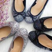 平底鞋 韓國 閃片亮片蝴蝶結芭蕾舞平底鞋單鞋 伴娘宴會鞋 時尚新品