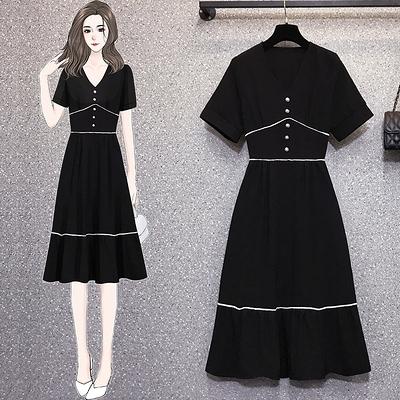 L-4XL大碼洋裝~18169#大碼胖mm顯瘦小黑裙法式復古收腰顯瘦遮肚4F093胖妹大碼女裝