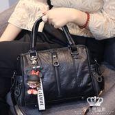 手提包 時尚水洗皮側背包休閒軟皮日韓簡約百搭斜背包