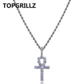 8折免運 安赫鑰匙十字架hiphop嘻哈吊墜鍊子 鑲鋯石鍍金夜店說唱朋克項鍊