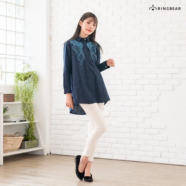 格子襯衫--文青風幾何花樣刺繡細格紋寬鬆V型領長袖襯衫(藍M-3L)-I129眼圈熊中大尺碼