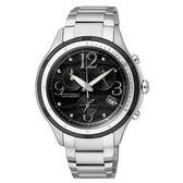 CITIZEN Eco-Drive大膽綻放亮麗時尚腕錶-黑X銀