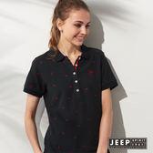 【JEEP】女裝 配色滿版鯊魚刺繡短袖POLO衫 (黑色)