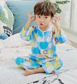 夏季兒童綿綢睡衣薄款男童女童純棉綢套裝