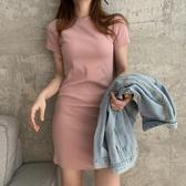 性感緊身短裙2020夏季新款女裝氣質緊身T恤裙針織短裙修身性感包臀連身裙女潮 伊蘿鞋包