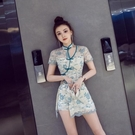 2021夏歐美復古改良旗袍兩件套性感鏤空蕾絲勾花開叉連衣裙短褲套 快速出貨