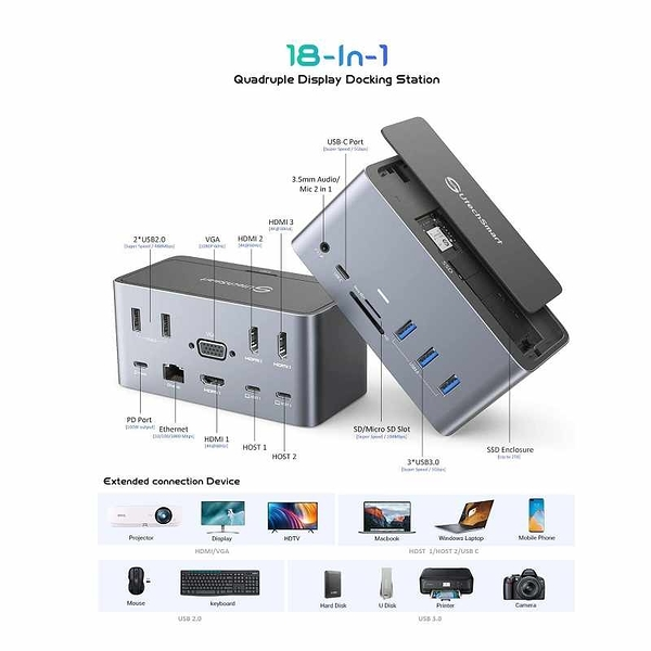 UtechSmart 18合1擴展塢 SSD外殼 Quadruple Display USB C Laptop Universal Docking Station [2美國直購]