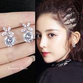 925純銀針  韓國優雅氣質  鋯鑽蝴蝶 耳環-維多利亞1811158