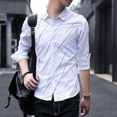 白色/L碼 襯衫男 秋冬潮流長袖襯衫 條紋修身長袖襯衣韓版男條紋襯衫 翻領襯衣C0604