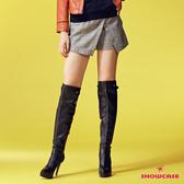 【SHOWCASE】氣質英倫格紋前岔仿裙短褲(灰)