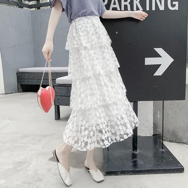 2020年新款蕾絲網紗半身裙女夏季薄款中長款裙子蛋糕裙高腰a字裙 【ifashion·全店免運】