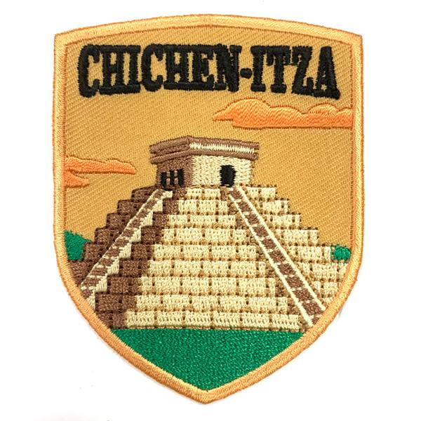 墨西哥 瑪雅金字塔 神秘力量 地標布藝刺繡徽章 胸章 立體繡貼