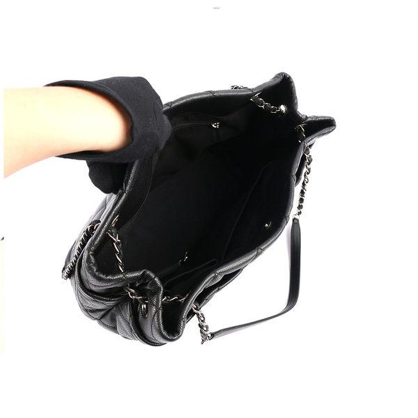 【CHANEL】銀鍊 荔枝皮 肩背包(黑色) CH11000415