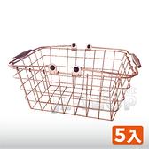 【免運】玫瑰金鐵線購物籃 手提籃 收納籃 置物籃 鐵線籃 ZAKKA 布套(一組5入)