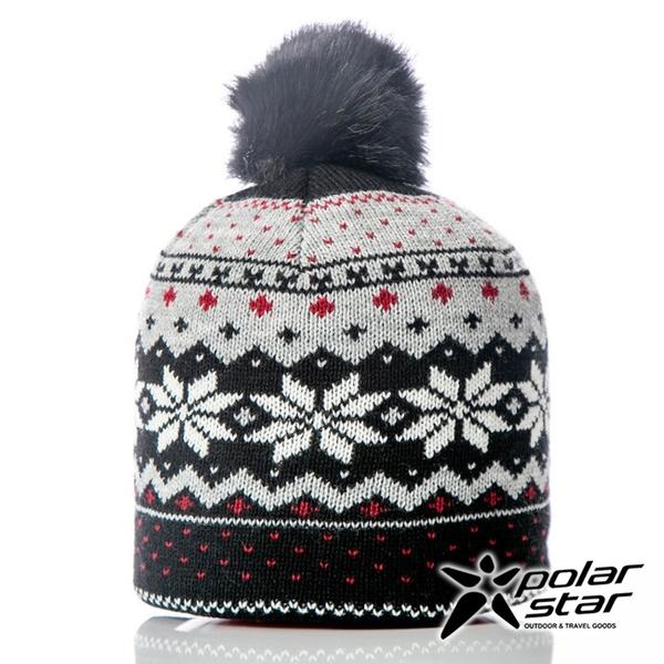 【PolarStar】女 雪花保暖帽『黑色』P18605 冬季 保暖 禦寒 毛球帽 素色帽 針織帽 毛帽 毛線帽 帽子