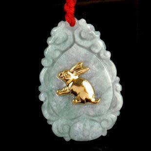 翡翠玉千足金吊墜招財兔守護神