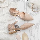 涼鞋淺口涼鞋女 春季新品正韓百搭中跟粗跟尖頭一字扣女鞋子潮
