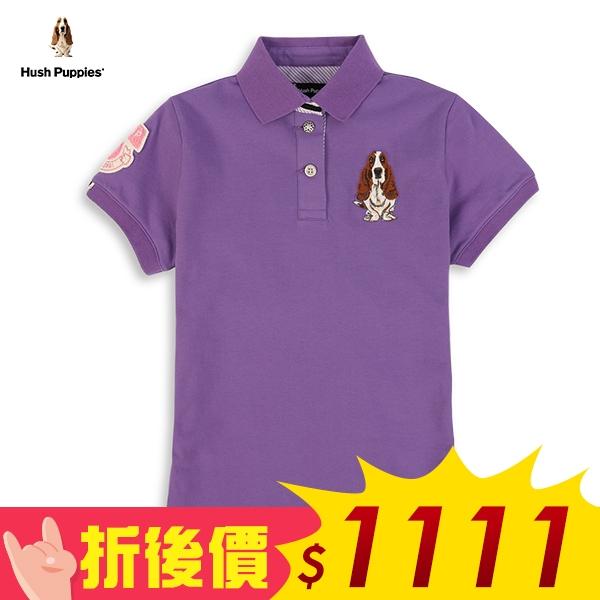 Hush Puppies 爆殺價$1111 女裝音符織標刺繡狗POLO衫 時時樂限定
