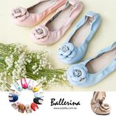 Ballerina-全真皮山茶花彎曲娃娃鞋