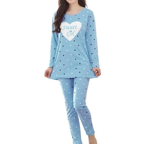 女孩心形甜夢休閒套裝睡衣(藍色)