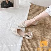 涼鞋女外穿夏季百搭包頭平底一字帶尖頭鞋【慢客生活】