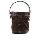 【FENDI】MON TRESOR Mini 麂皮手提/斜背水桶包(棕色) 8BS010 AFIS F1E3L