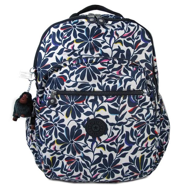 Kipling SEOUL GO XL花園圖騰雙層鋪棉大後背包(深藍色)-BP43724HP