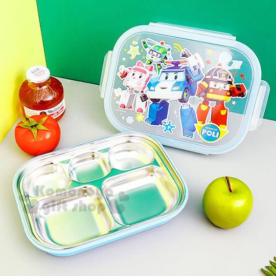 〔小禮堂〕POLI波力 救援小英雄 不鏽鋼餐盤式便當盒《藍.星星.多角色》304不鏽鋼系列 8806196-70157