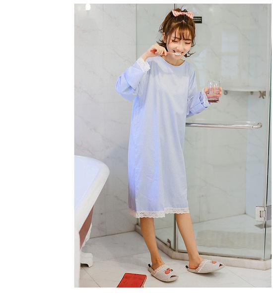 純棉可愛卡通家居睡裙 休閒簡約薄款甜美家居服女-wow0021