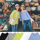 Queen Shop【01038335】素色大圓領落肩七分袖上衣 五色售*現+預*