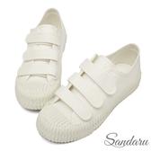 訂製鞋 魔鬼氈車線帆布餅乾鞋-白色下單區
