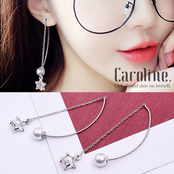 《Caroline》★韓國官網熱賣水晶五角星珍珠耳線 優雅浪漫風格時尚流行耳環69532