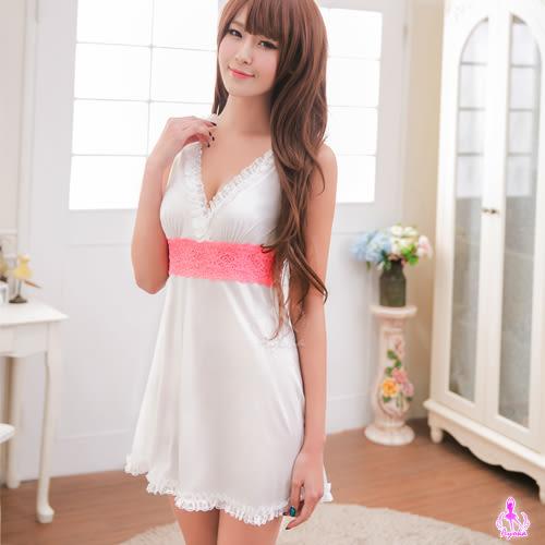 快樂天堂情趣用品   純白蕾絲柔緞V字美背性感睡衣