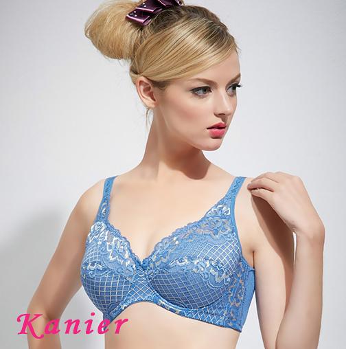 【Kanier卡妮兒】側邊加高薄棉台灣製大罩杯內衣(藍/粉_EFG) _8708