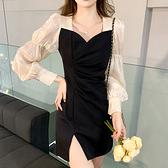 長袖洋裝 方領拼接連身裙-媚儷香檳-【FD0142】