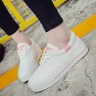 春季百搭小白鞋帆布女鞋秋季厚底板鞋休閑平底學生白鞋