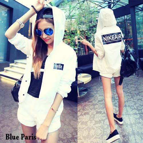 韓版帥氣英文字母連帽防曬外套 飛行外套 夾克外套 棒球服【28074】《2色》Blue Paris